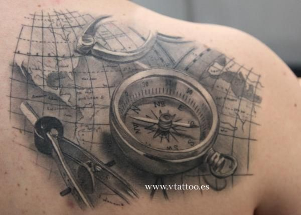 05bf02016 100 Awesome Compass Tattoo Designs | D | Compass tattoo, Compass ...
