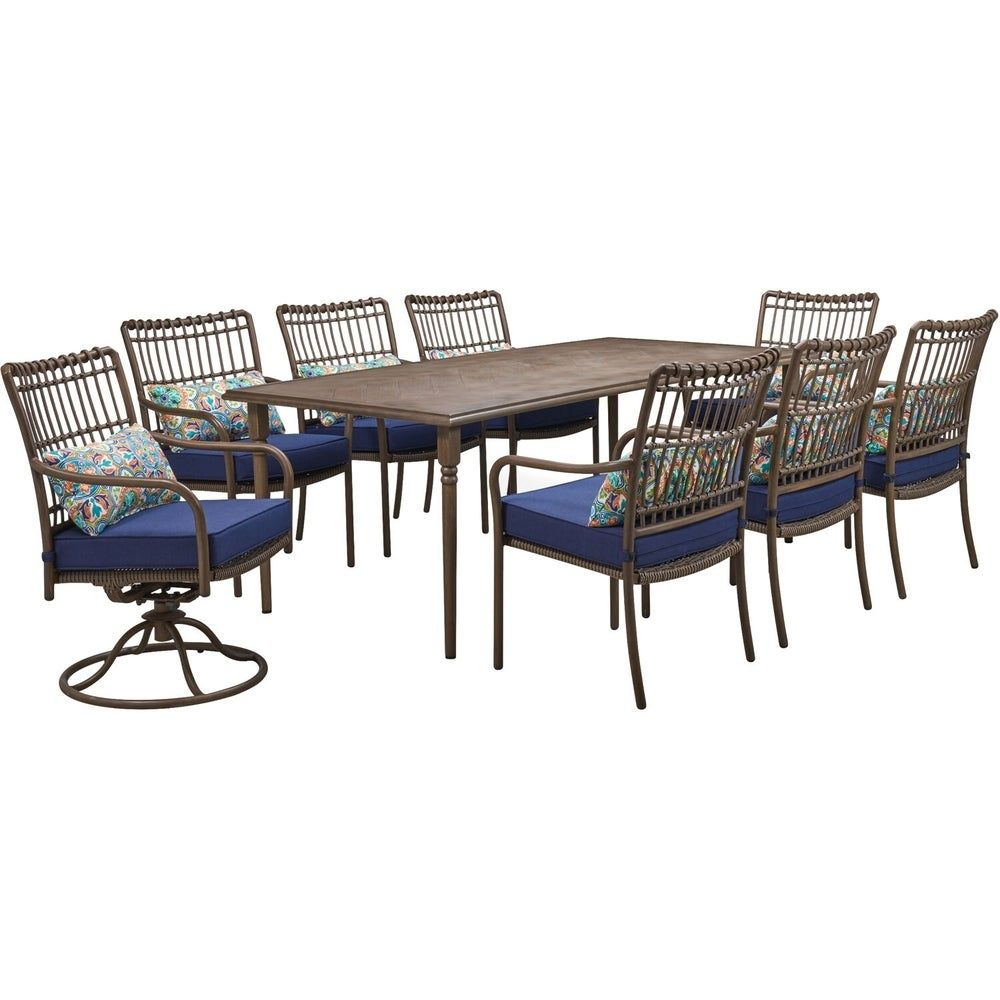 Hanover Summerland 9 Piece Outdoor Dining Set With 6 Stationary