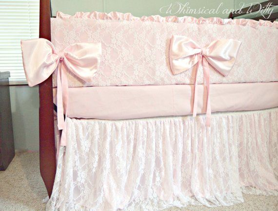 Baby Bedding Crib Bedding Lace And Pink Satin Products Pink