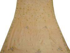 Vintage 100% Pure Silk Saree Fabric India Embroidered Art Deco Sari 5YD Peach