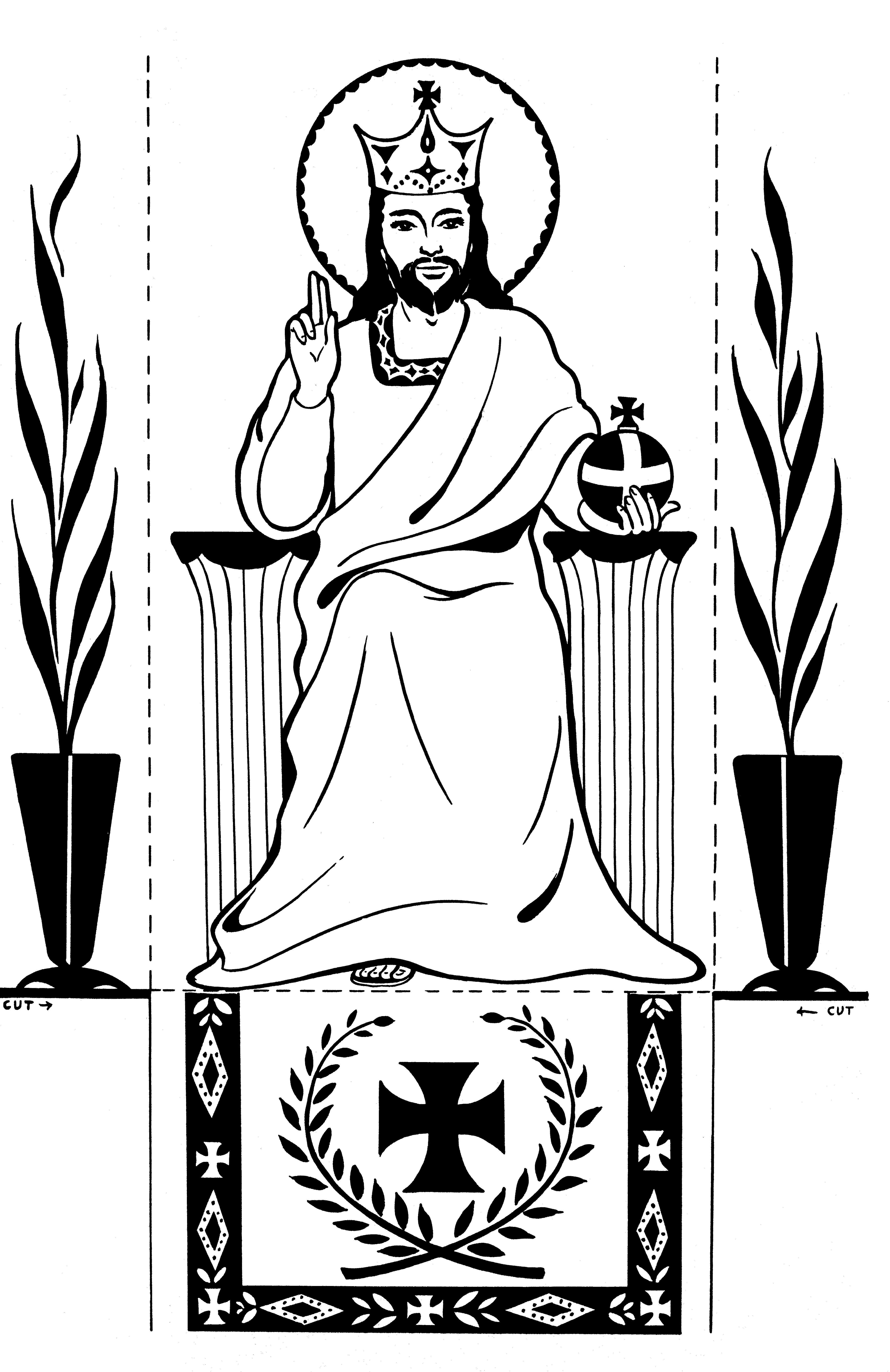 Fold On The Dotted Lines To Stand Up Picture Christ King Catholic Coloring Page