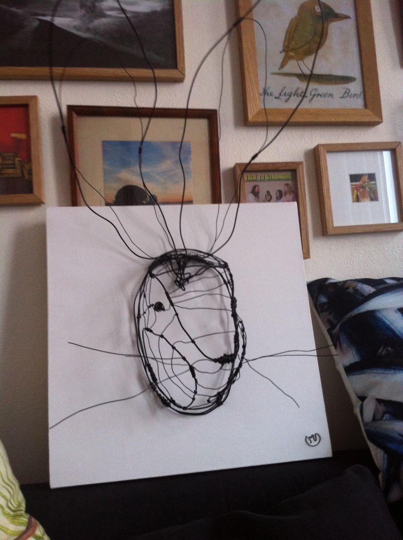 troph e t te de lapin grand mod le sculpture murale en fil de fer noir sur cadre 3d 40 cm x 40. Black Bedroom Furniture Sets. Home Design Ideas