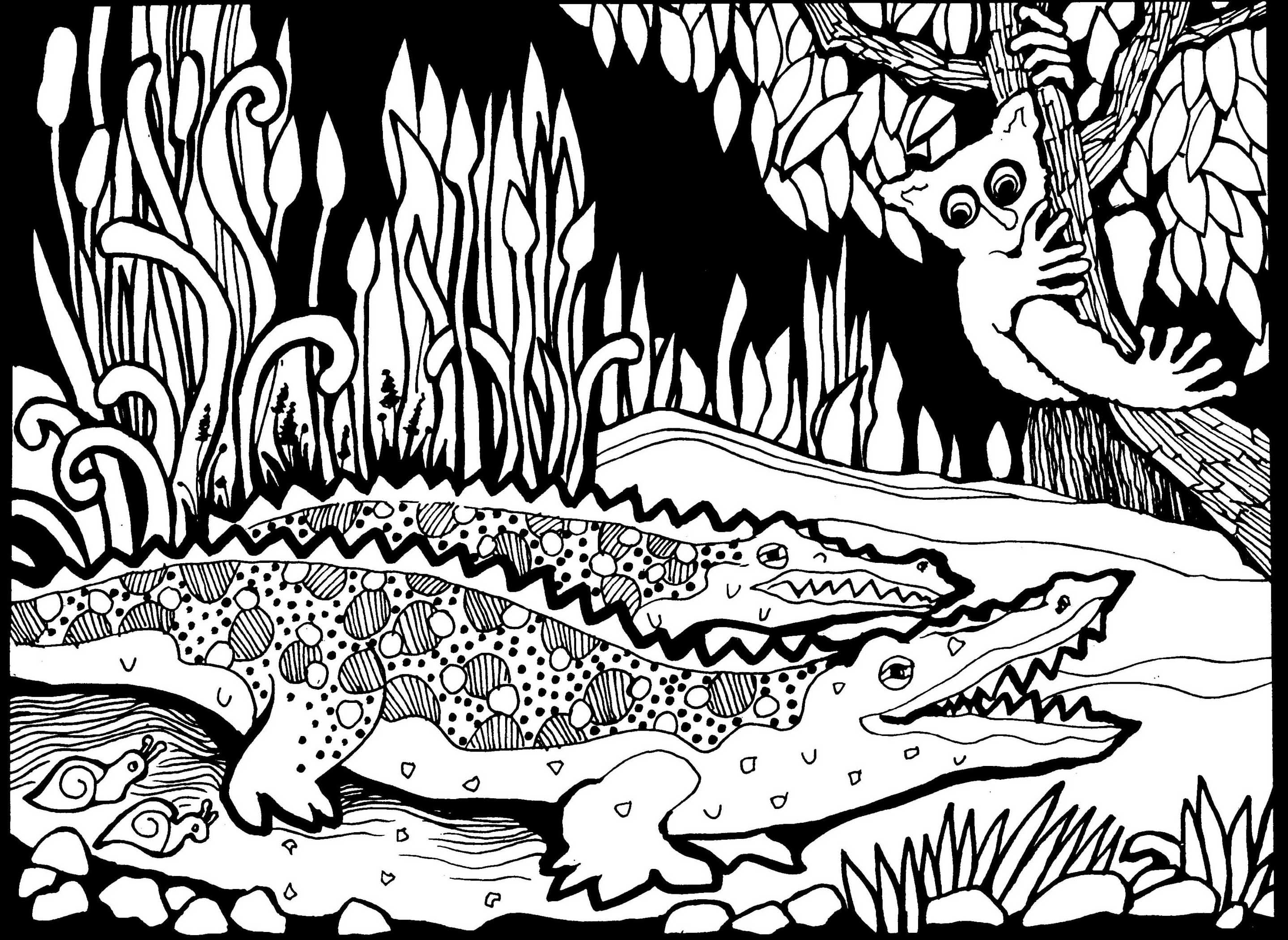 Free Coloring Page Coloring Adult Africa Crocodiles Coloring Page