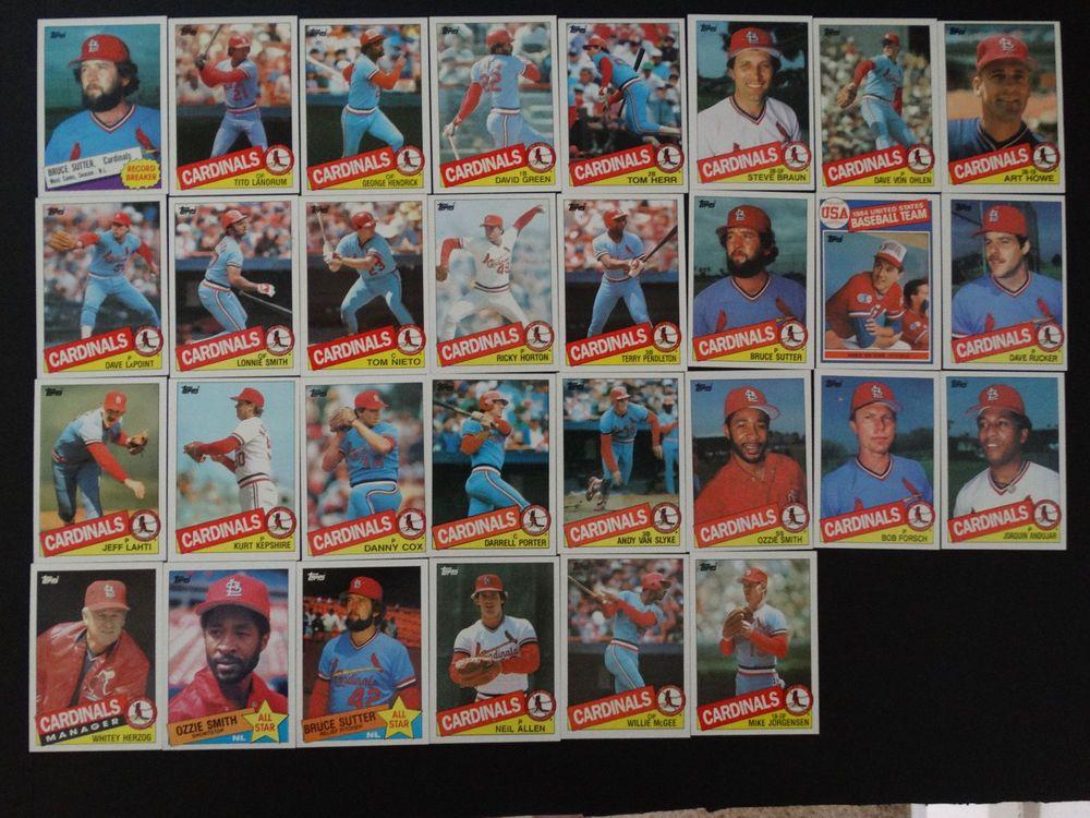 1985 topps st louis cardinals team set of 30 baseball