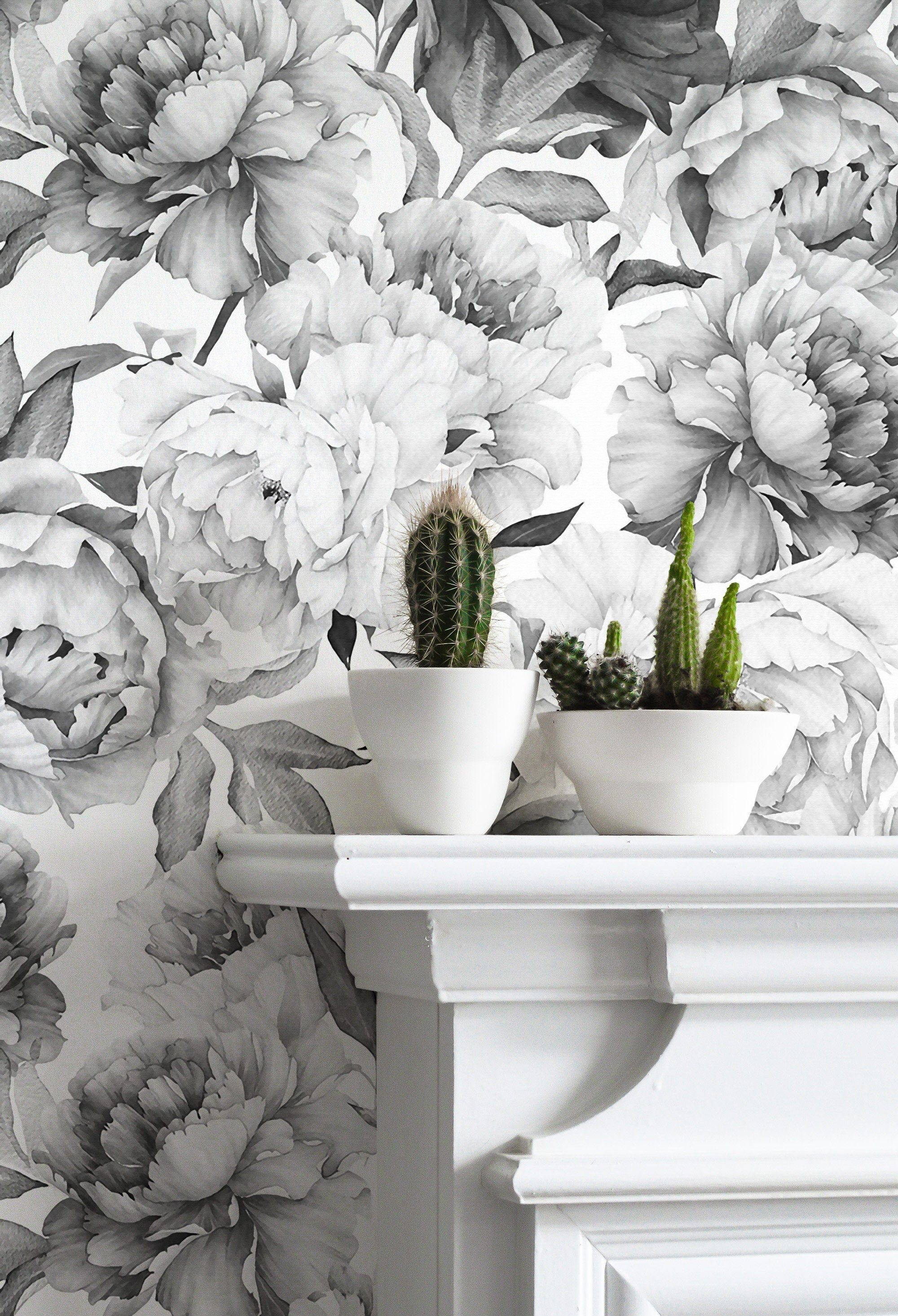 Giant Black And White Peony Removable Wallpaper Mural Etsy In 2020 Floral Wallpaper Mural Wallpaper Mural
