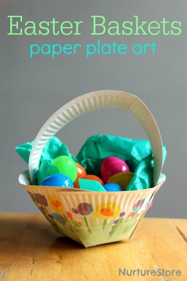 Diy easter basket with paper plates