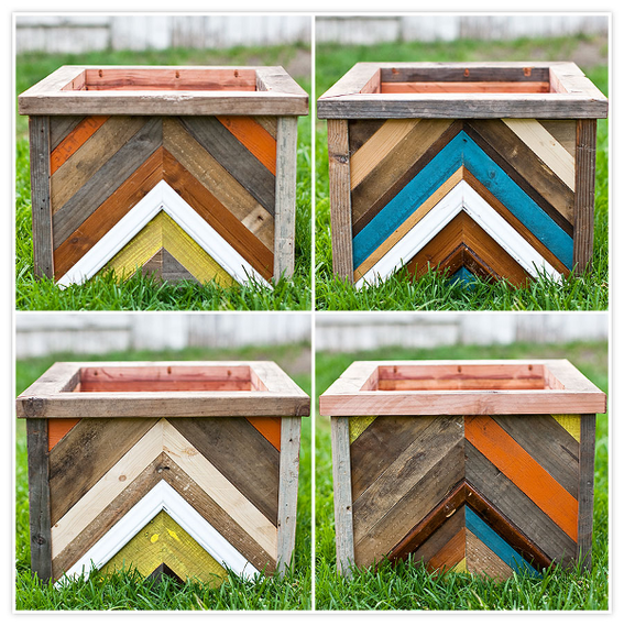 DIY Chevron-Patterned Reclaimed Wood Planter Box. Created by Seth and  Desiree from the - Make It: DIY Chevron-Patterned Reclaimed Wood Planter Box