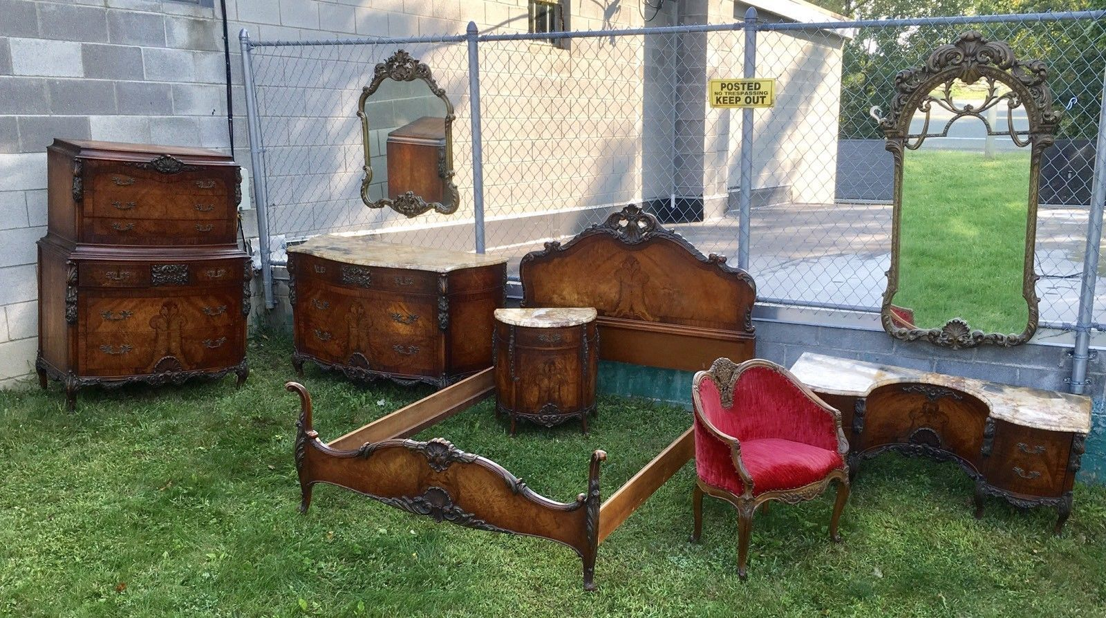 1920's FRENCH STYLE INLAID CARVED MARBLE TOP MAHOGANY 8 PC