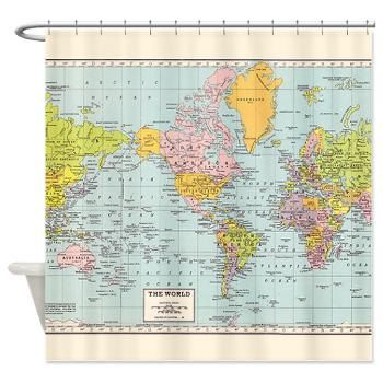 World Map Shower Curtain Historical Colorful Vintage Map Home Decor Bathroom Geography History Travel Blue Green Pastel Green Shower Curtains Map Quilt Map