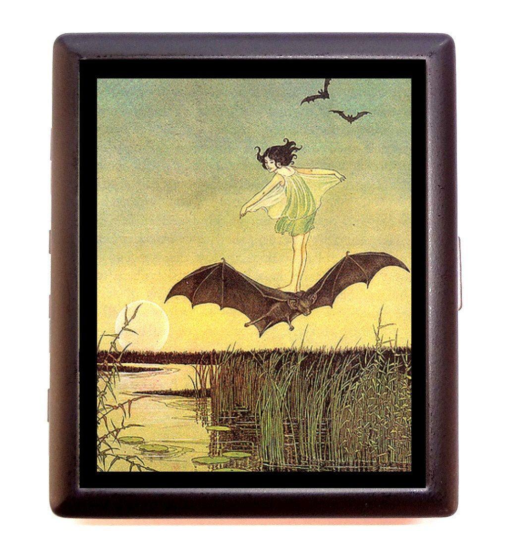 Little Girl Riding Bat Vintage Storybook Fairy Tale Cigarette or ...