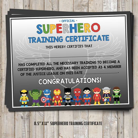 Superhero training certificate - 2 versions blue AND gray - certificate for training