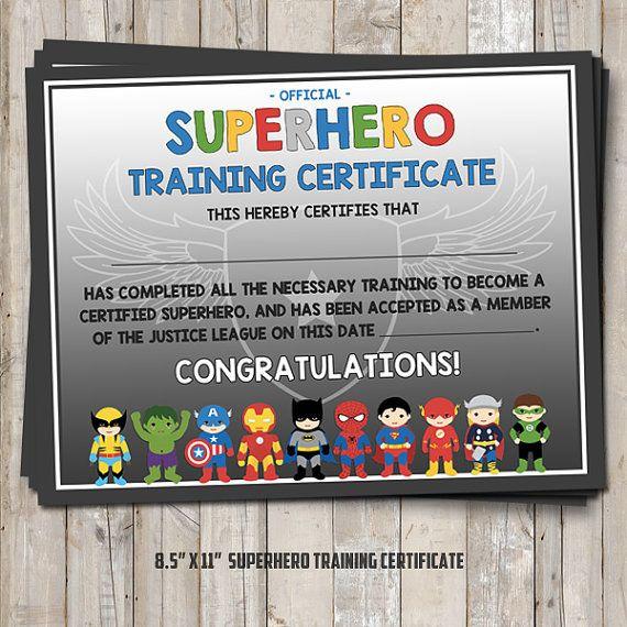 Superhero Training Certificate 2 Versions Blue And Gray Digital
