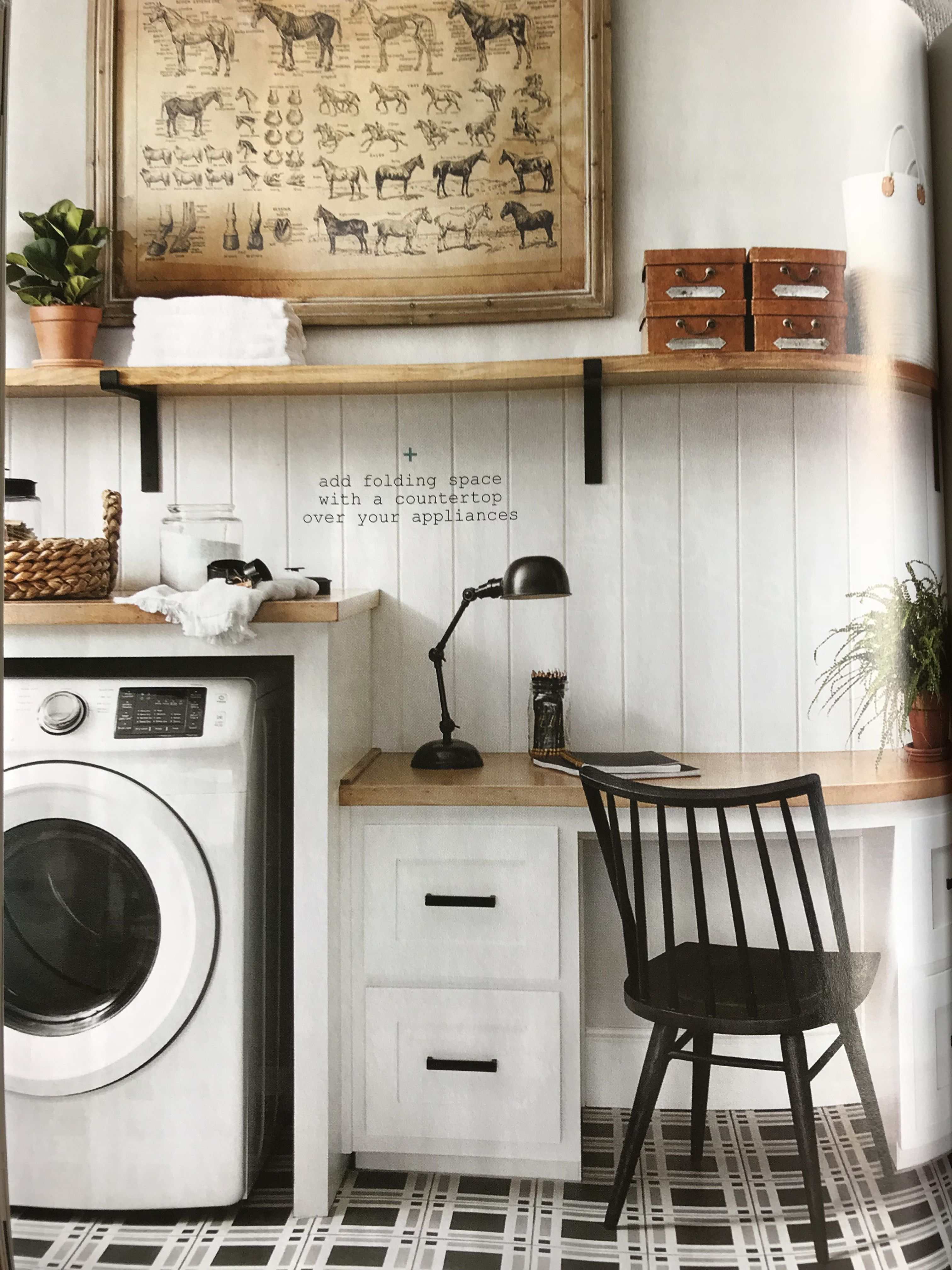 Magnolia Journal laundry room, wide bead board with a shelf