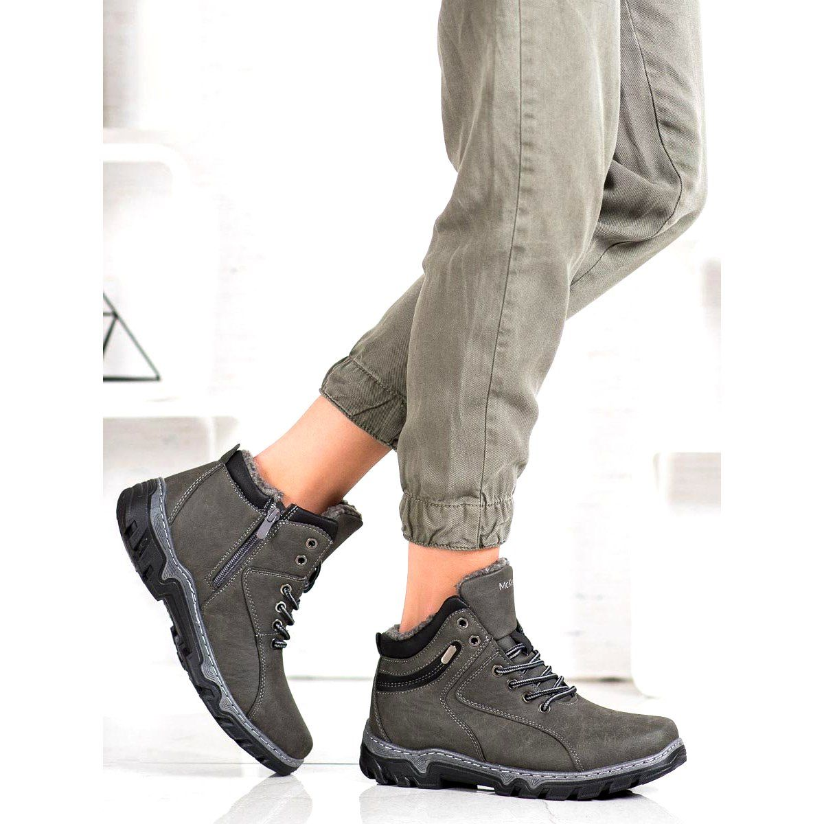 Trekkingowe Damskie Mckeylor Ocieplane Buty Mckeylor Szare Pocket Jeans Wedge Sneaker Fashion