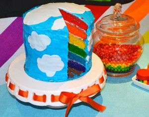 (How to Make a) Rainbow Birthday Cake: Sweet Blue Clouds Rainbow Birthday Cake ~ Cake Inspiration