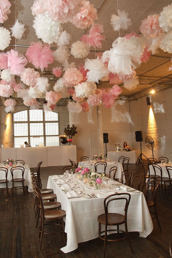 White And Pink Pom Poms Wedding Decor Http Www Himisspuff Ideas For Your 7