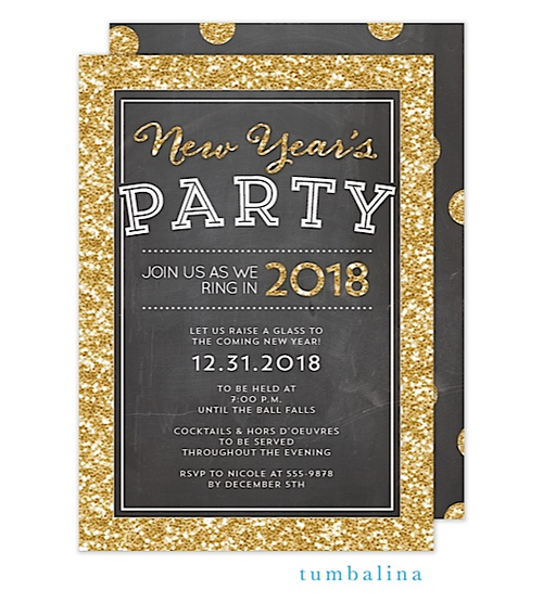 New Year's Eve Party Invitations glitter gold chalkboard