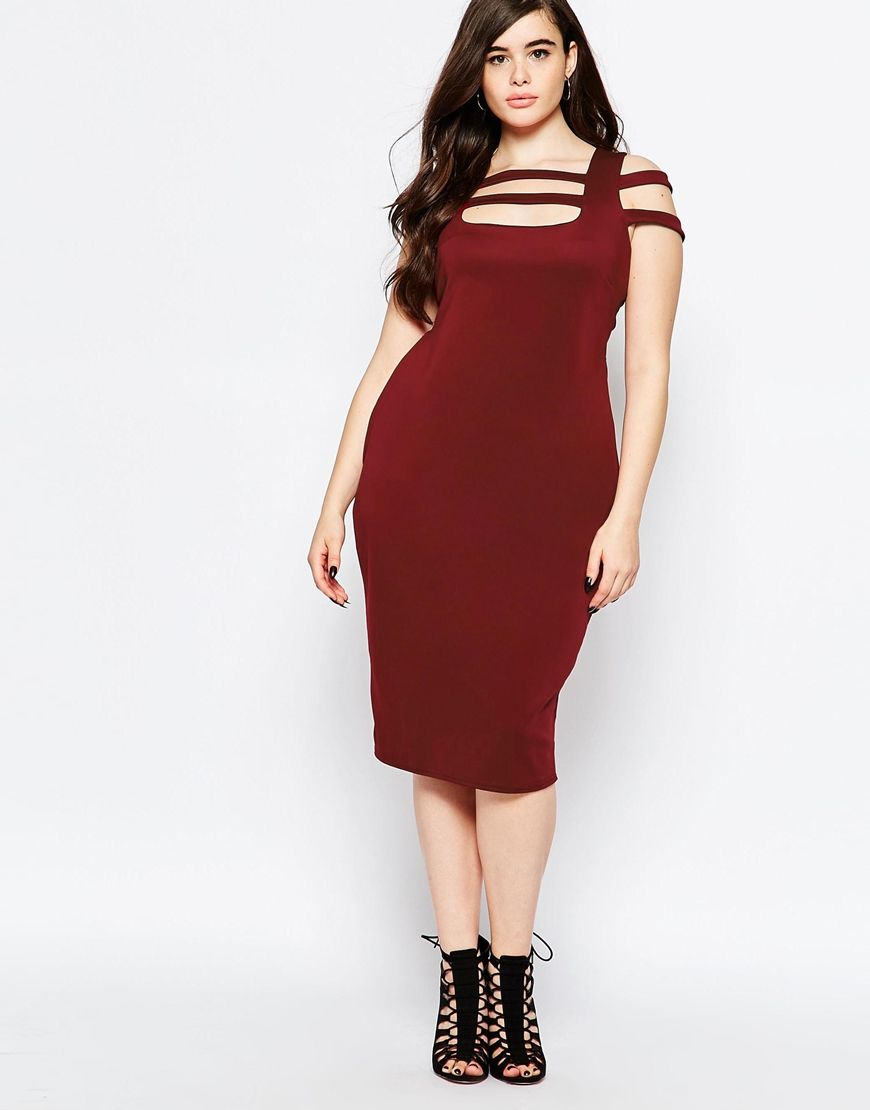 de71002df57d Boohoo Plus Caged Shoulder Bodycon Dress | luxe for less | Red ...