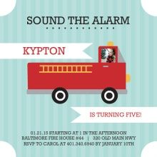 Sound the Alarm Fire Truck Birthday Party Invitation Templates