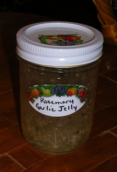 rosemary garlic jelly- serve with cheese and crackers or as a glaze when roasting