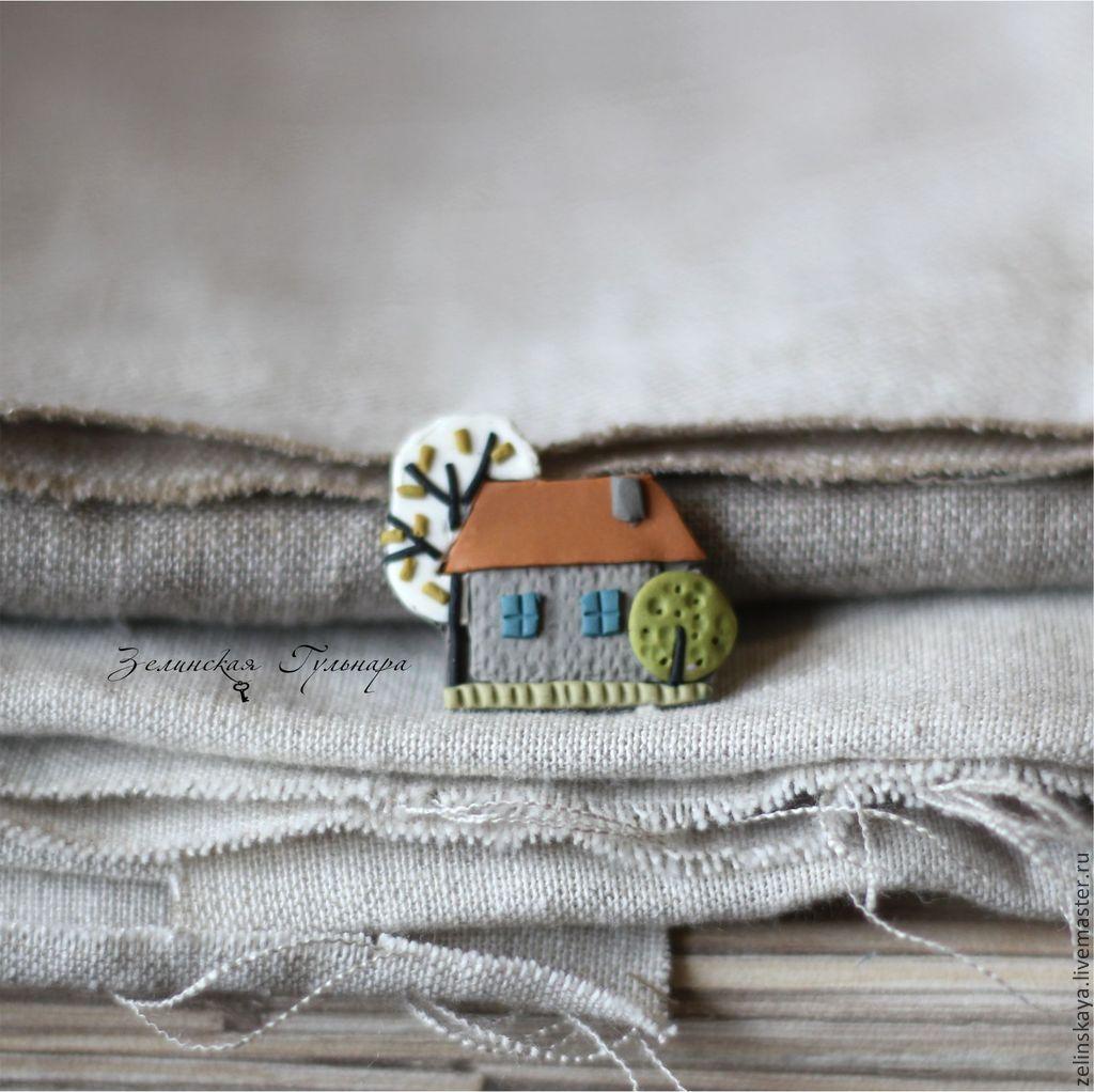 Просто домик. Брошь - разноцветный,серый,зеленый,белый,оранжевый,весна