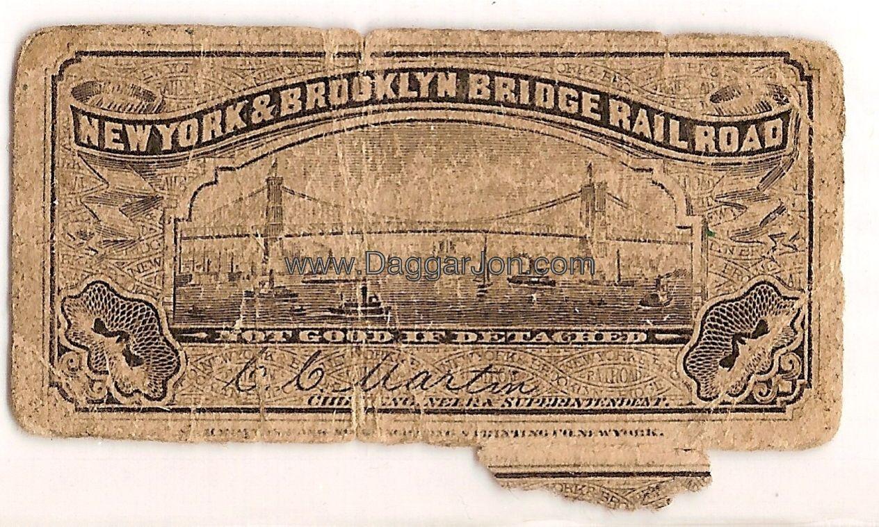New York and Brookland bridge railroad ticket stub obverse.jpg ...