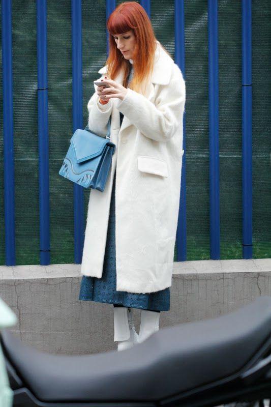 At Costume National by Elena Braghieri (wearing Asos coat, Melis Yildiz bag, Tory Burch dress and Jil Sander boots)