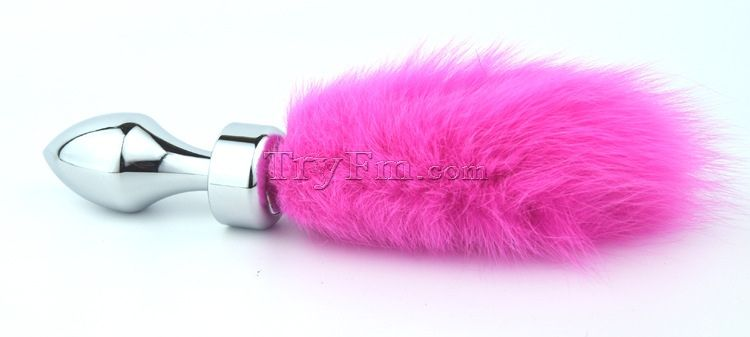 Colorful Bunny Tail With Stainless Steel Bullet Silver -5996