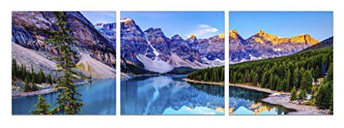 Startonight Glass Wall Art Acrylic Decor Mountain Lake Set Of 3 Total 2362 X 7087 Inch Startonight Original Artwo Glass Wall Art Original Art Painting Wall Art