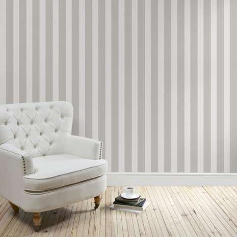 Heritage Grey Stripe Wallpaper Striped Wallpaper Living Room