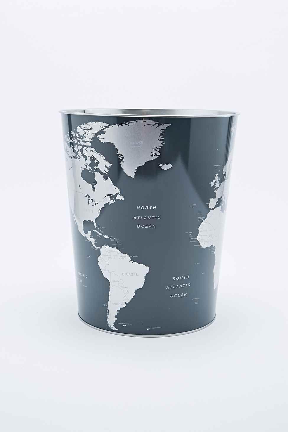 Globe Dustbin Poubelle Corbeille Papier Carte Du Monde
