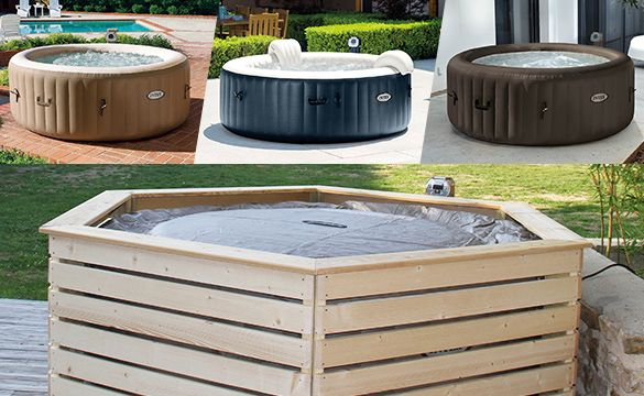 Habillage En Bois Spa Gonflable Intex Aquazendo Hot Tub