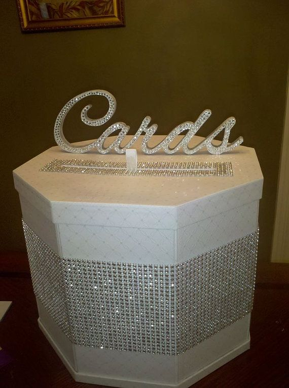 CUSTOM JOB for Tiffany S. - Card Box for Wedding/ party... use burlap and different font for cards