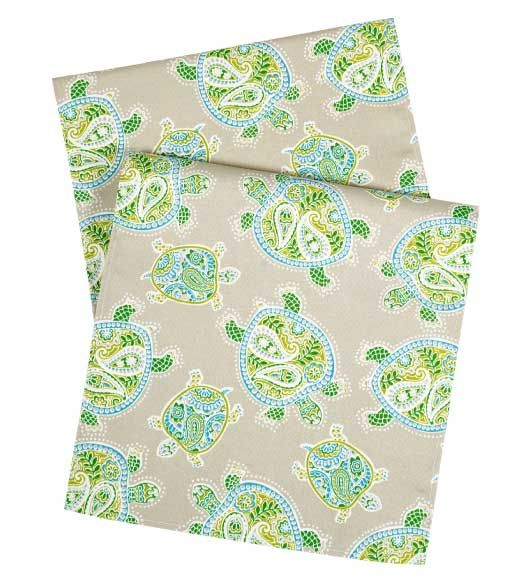 """Table Runners 90"""" Beach Turtle. comes in various sizes. from $34.99"""