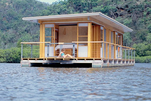 arkiboat modern tiny houseboat on pontoons boat. Black Bedroom Furniture Sets. Home Design Ideas