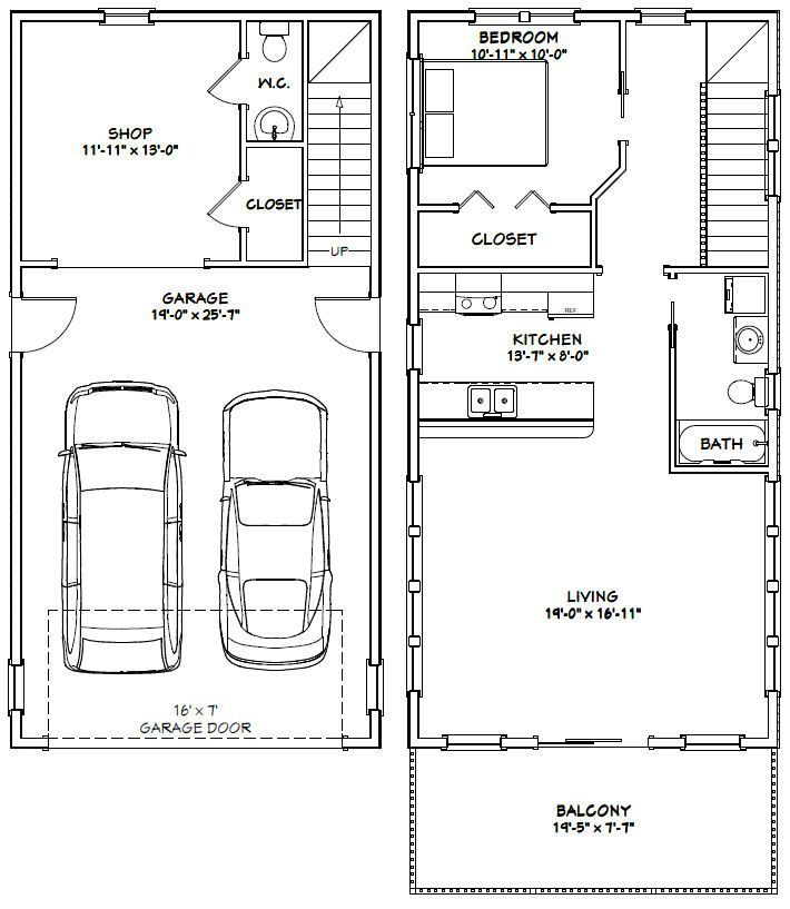 Architectural Designs Carriage House Plan 14631rk Gives: 20x40 House -- #20X40H7J -- 965 Sq Ft