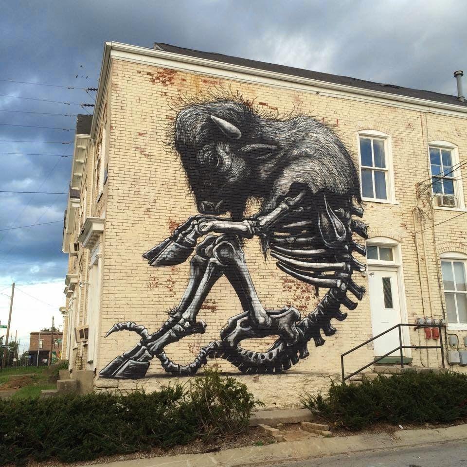 Roa Creates A New Mural For Prhbtn In Lexington Kentucky Streetartnews Street Art Street Artists Urban Street Art