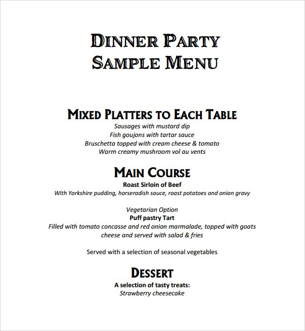 Sample Event Menu Template 9 Free Documents In Pdf Word Event Menu Template Dinner Party Menu Event Menu