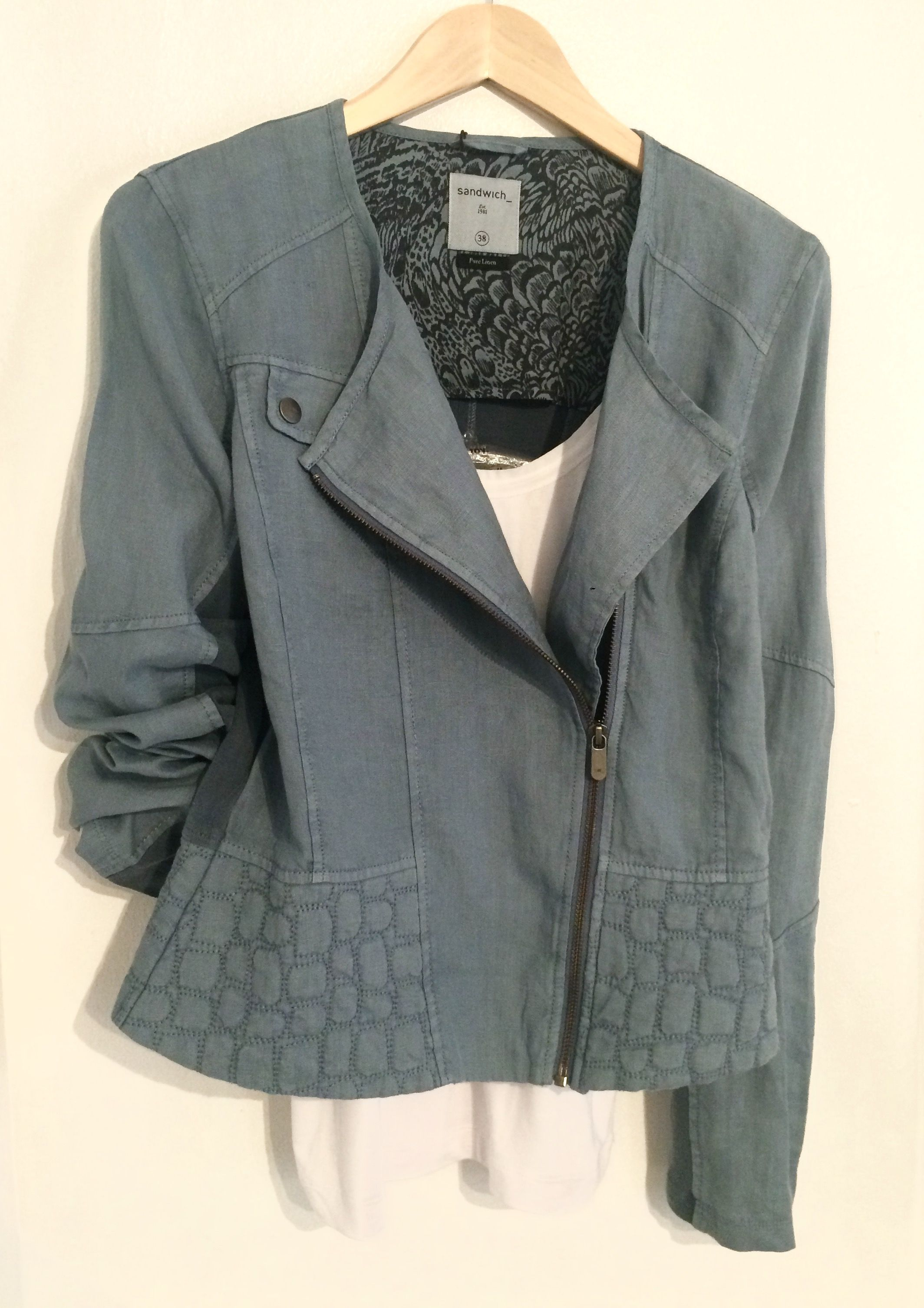 Sandwich teal linen jacket £119.95. InWear white camisole £22.95.