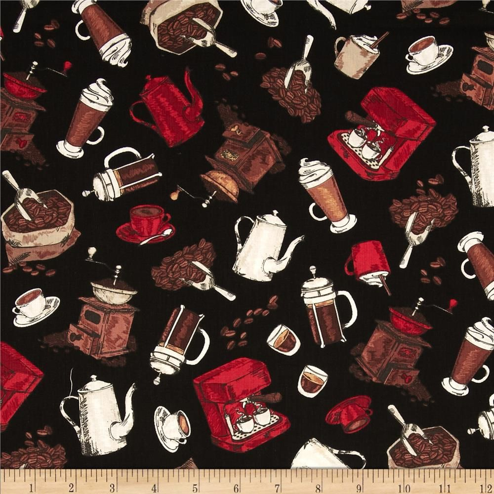 Timeless Treasures Got The Munchies Tossed Coffee Motifs BLack from @fabricdotcom  Designed for Timeless Treasures, this cotton print fabric is perfect for quilting, apparel and home decor accents. Colors include red, brown, cream and black.