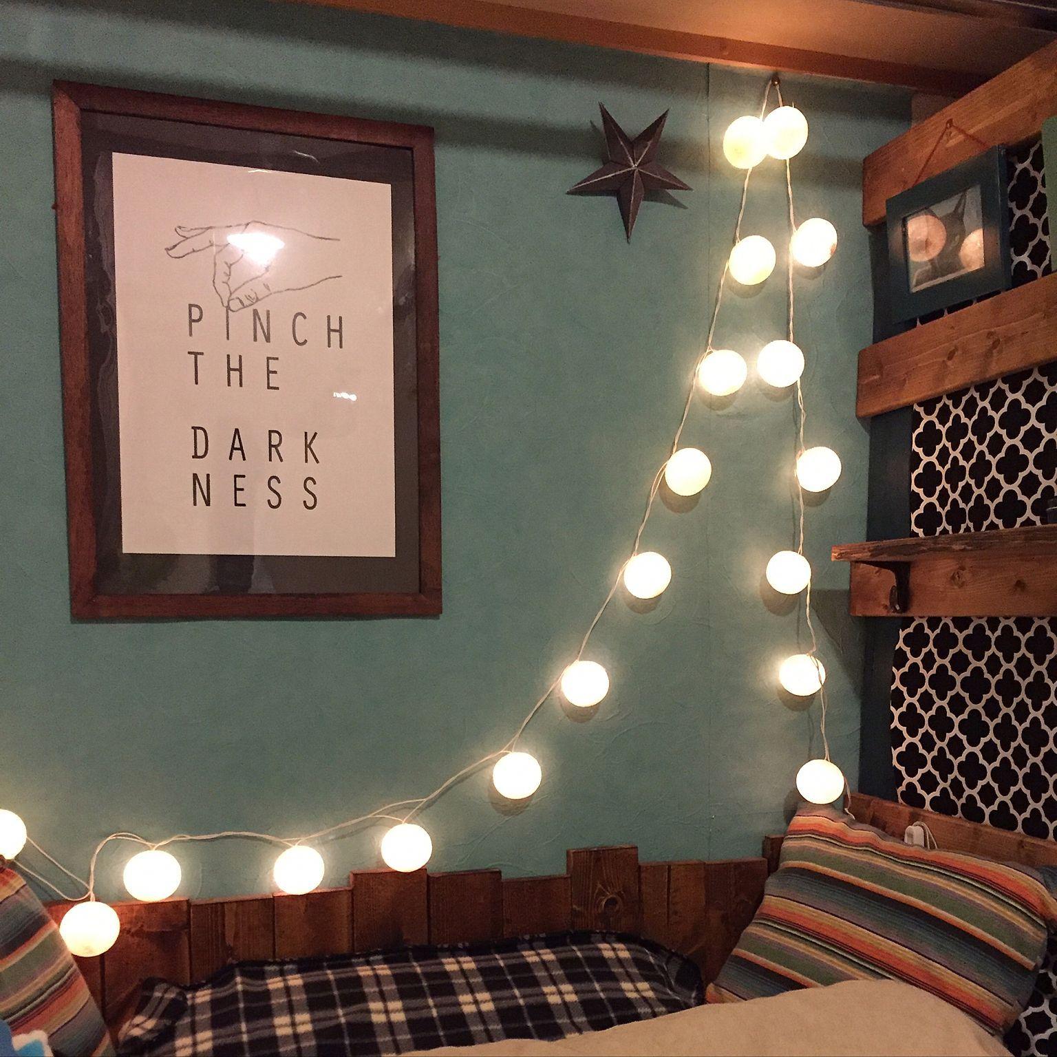 ベッド周り ベッド照明 コットンボールランプ Diy 一人暮らし などのインテリア実例 2016 06 16 20 47 17 Roomclip ルームクリップ インテリア インテリア 実例 アイデア