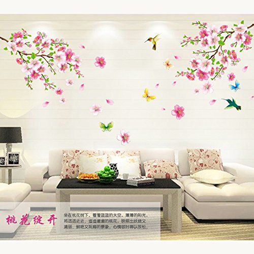 Amazon Com Amaonm Pink Cherry Blossom Tree Flowers Birds And Butterfly Wall Decal Home Decals For Living Floral Wall Sticker Wall Stickers Home Home Decor