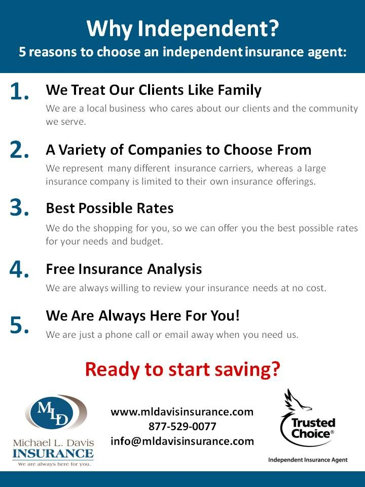 5 Reasons To Choose An Independent Insurance Agent Independent Insurance Insurance Agent Insurance Carrier