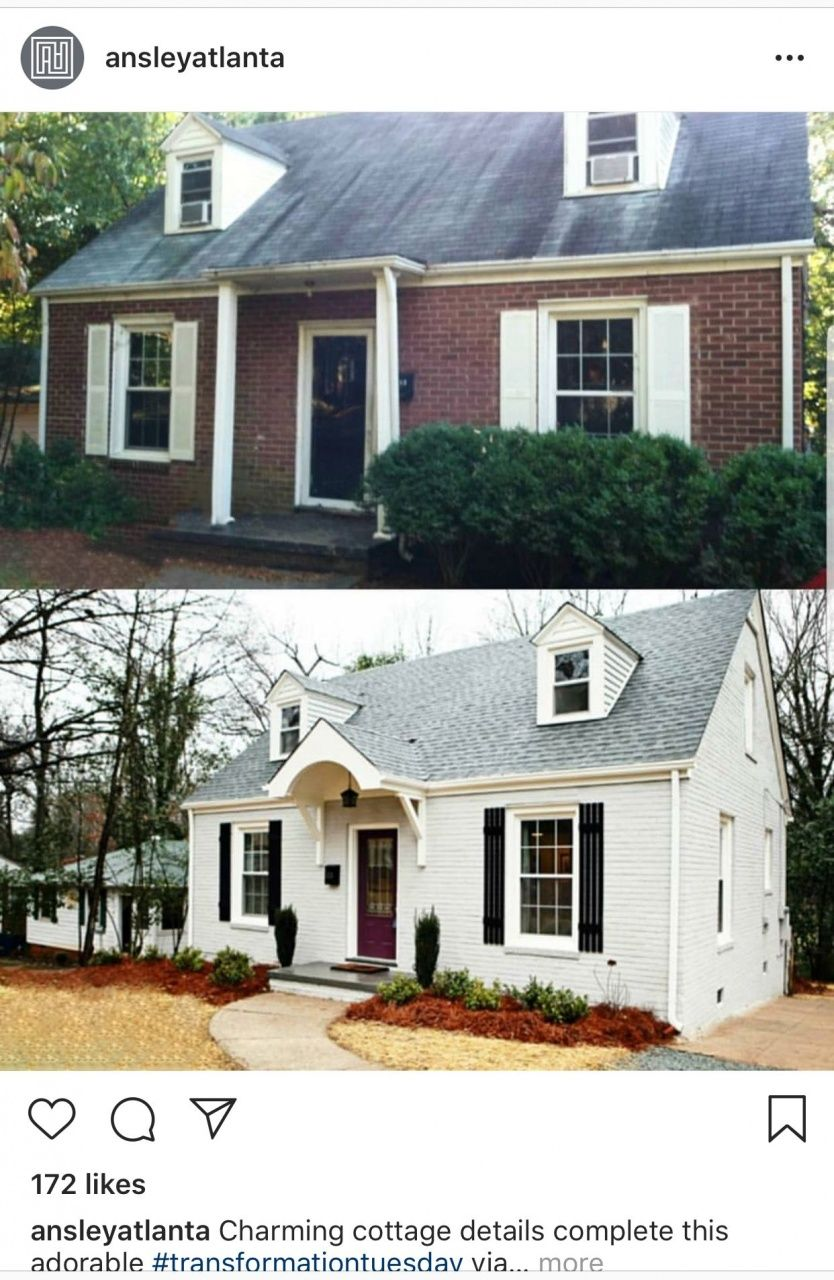 Painting Brick House Exterior Before And After In 2020 Brick Exterior House Home Exterior Makeover Painted Brick House