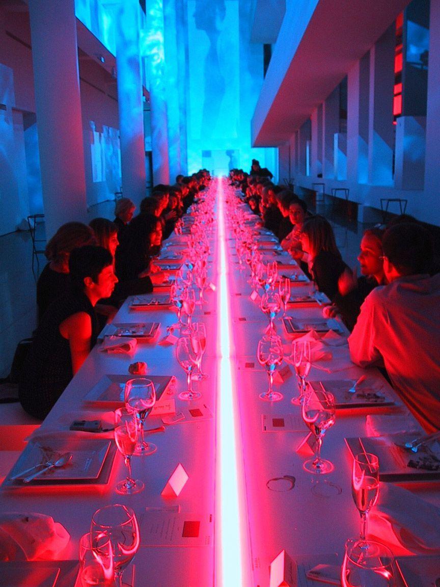 Neon Table Light: Jil Sander Sun Men Fragrance Launch MACBA Barcelona