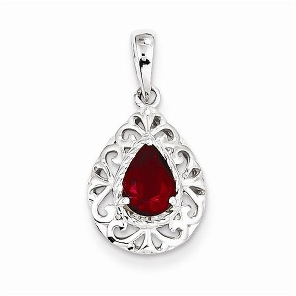 Sterling Silver Rhodium Plated Diamond /& Ruby Oval Pendant