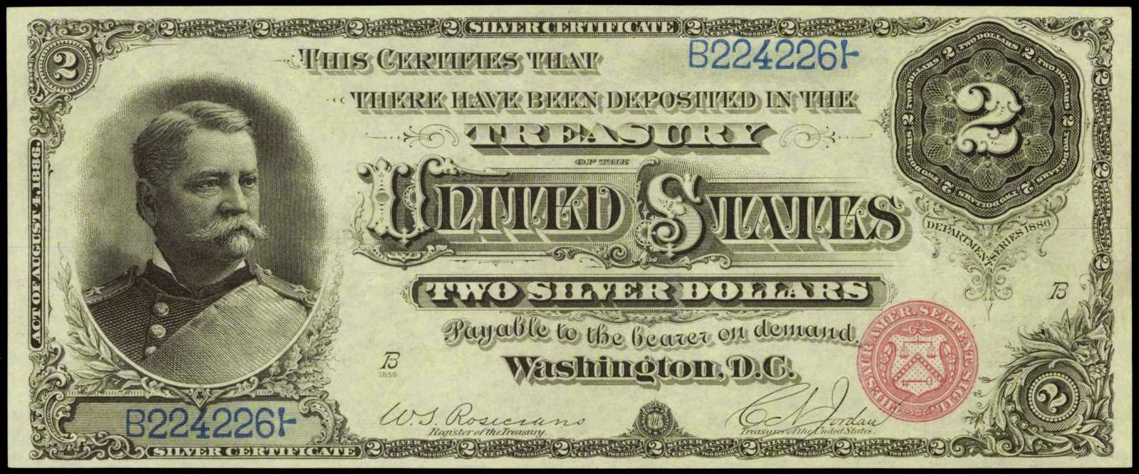 Paper money of the united states 1886 two dollar silver paper money of the united states 1886 two dollar silver certificate hancock note red 1betcityfo Images