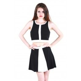 Mod Middle Stripe Crop Top in Black and Ivory DivaNY.com