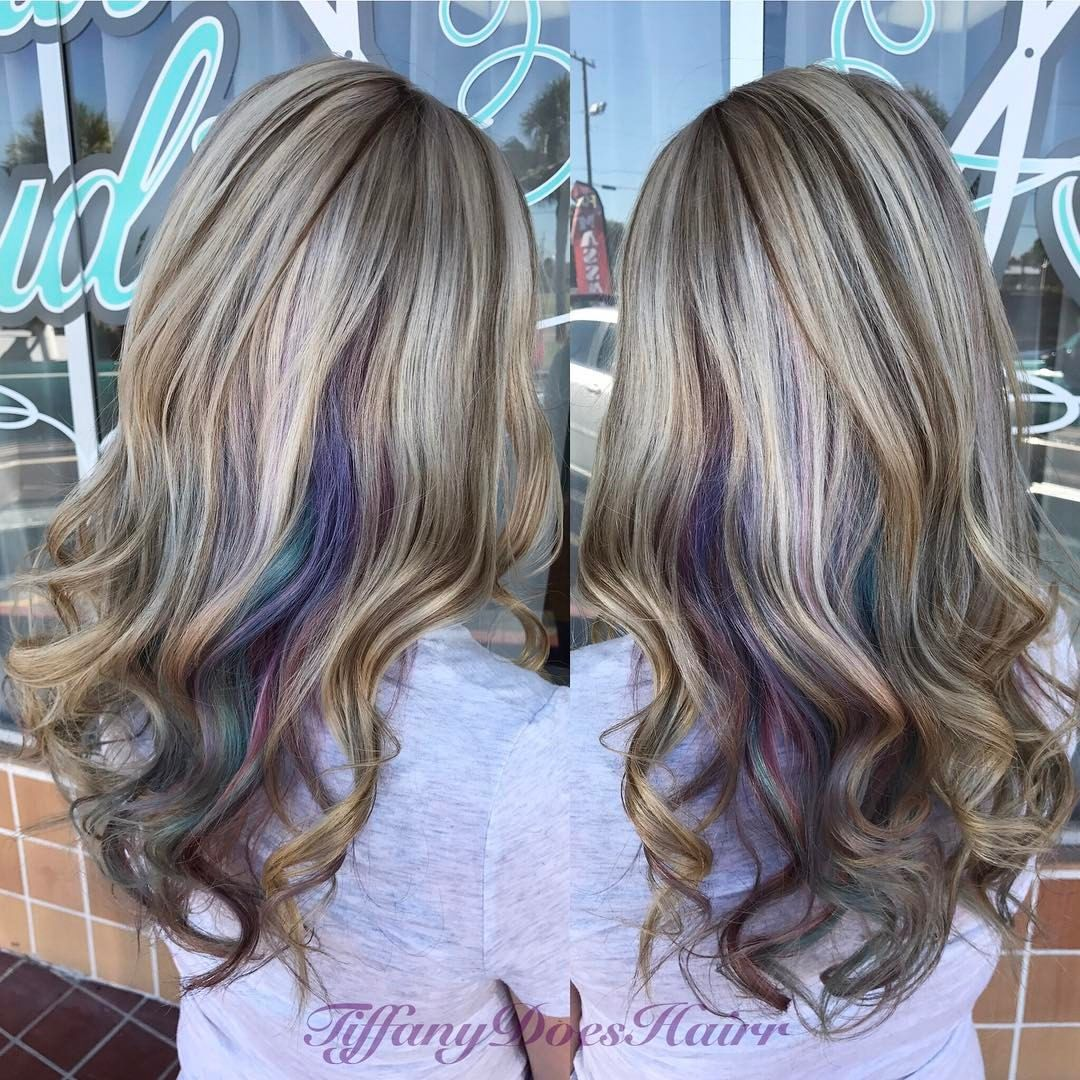 Blonde With Pastel Pink Purple Turquoise And Blue Underlights 25 Likes 3 Comments Tiffany Allen Underlights Hair Purple Underneath Hair Hair Color Pastel