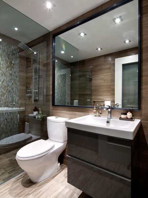 In this bathroom, the overall look is luxurious, but the vanity is